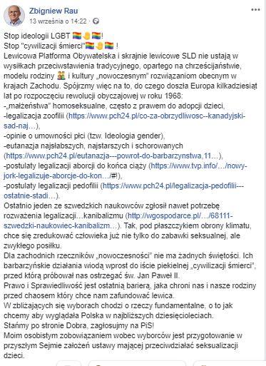 Zbigniew Rau zestawił LGBT z zoofilią. Powołał się przy tym na fake newsa