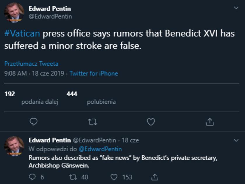 Benedykt XVI udar