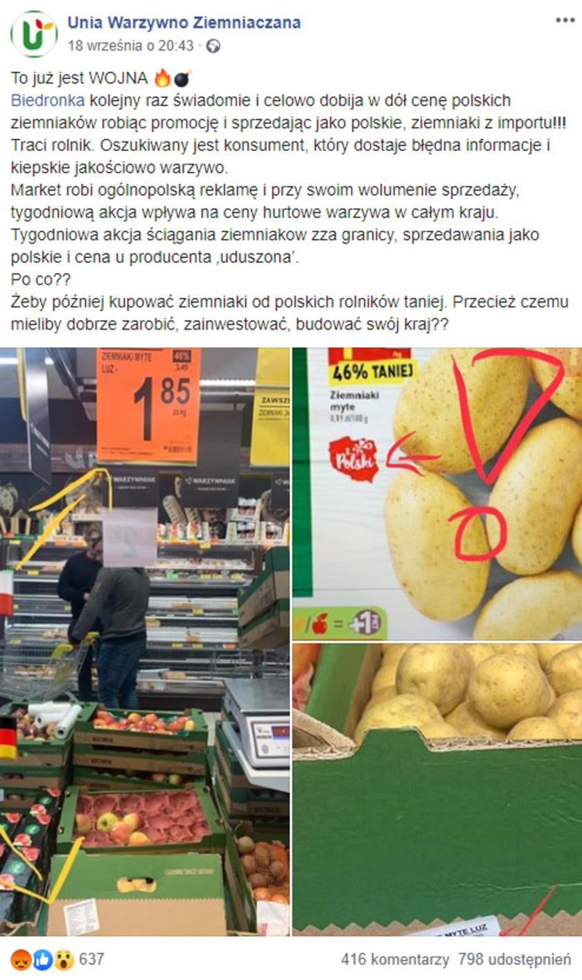 Biedronka ziemniaki