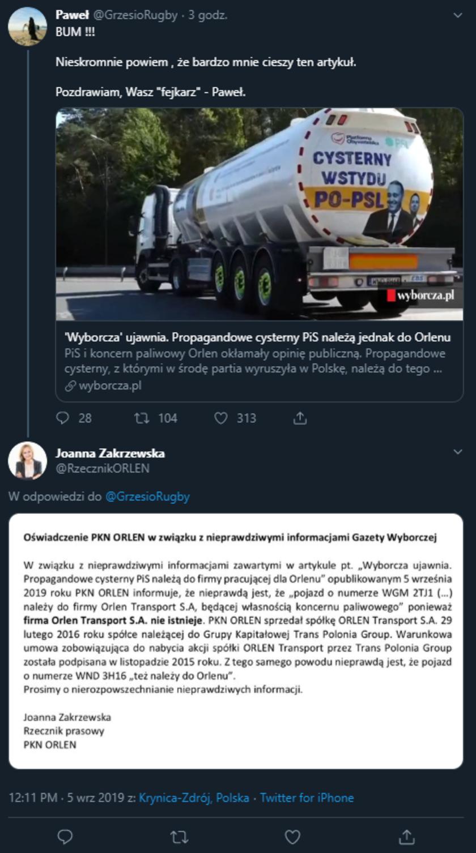 Wyborcza: cysterny wstydu należą do firmy Orlen Transport. Weryfikujemy fakty w sprawie