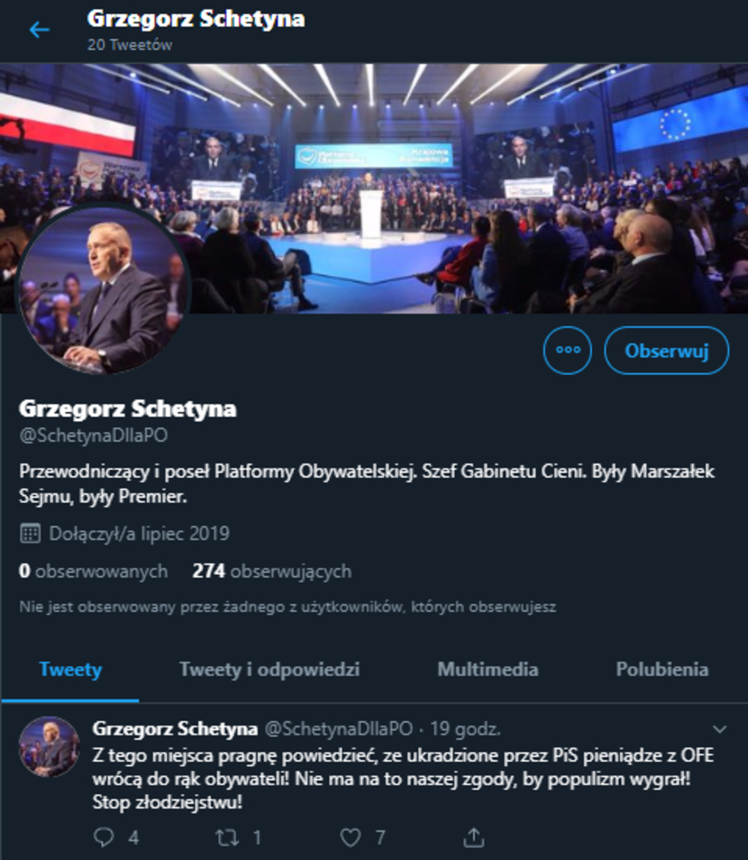 Grzegorz Schetyna fake