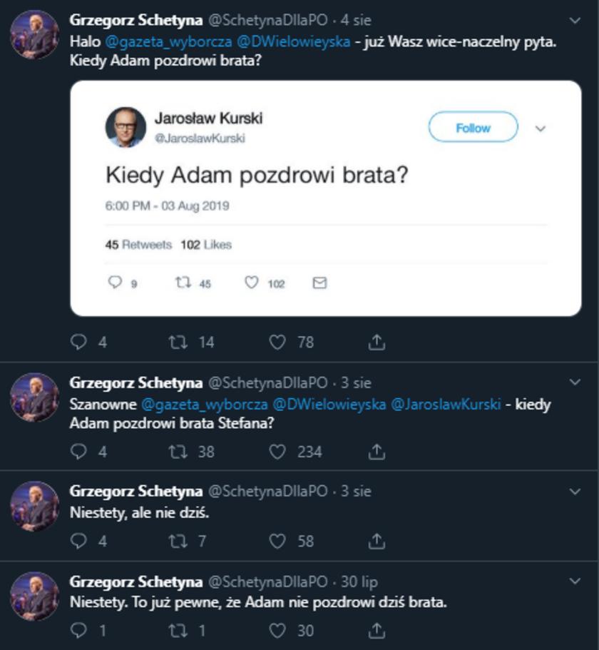 Grzegorz Schetyna fałszywe konto