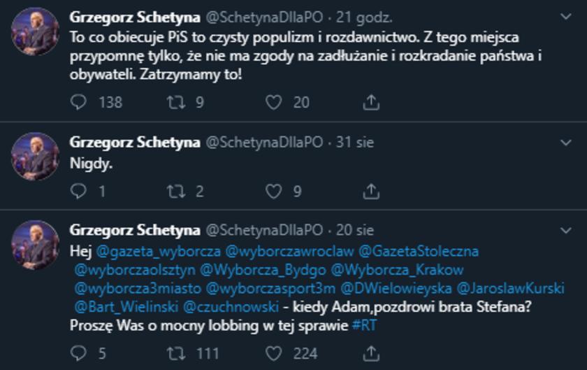 Grzegorz Schetyna fake konto