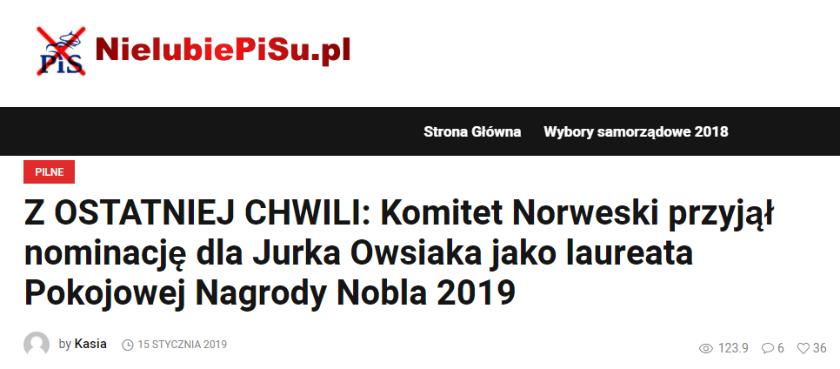 Jerzy Owsiak pokojowy Nobel