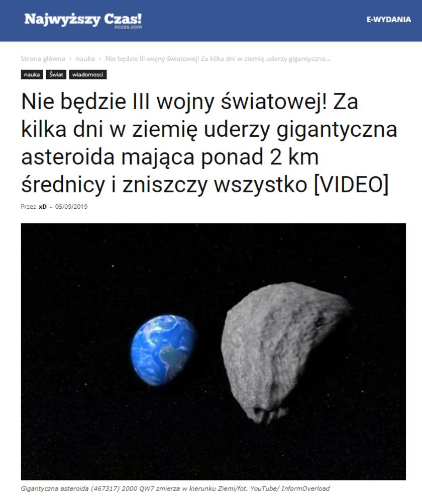 Najwyższy Czas! ogłosiło koniec świata, który ma nastąpić już za kilka dni. Naukowcy z NASA są innego zdania