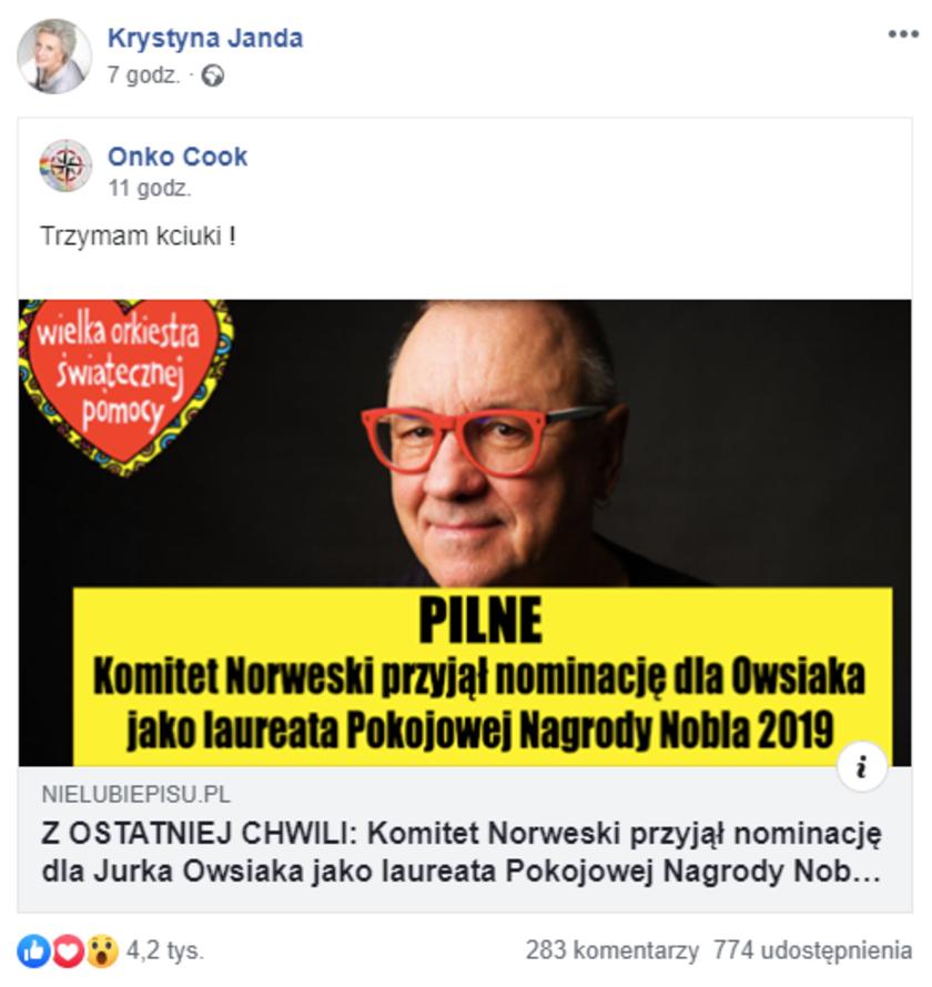 Krystyna Janda Facebook