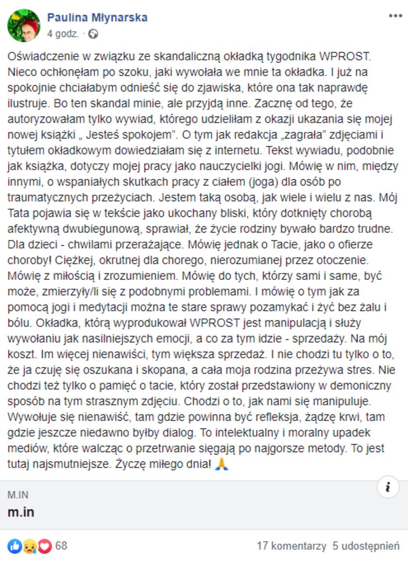 Paulina Młynarska oświadczenie