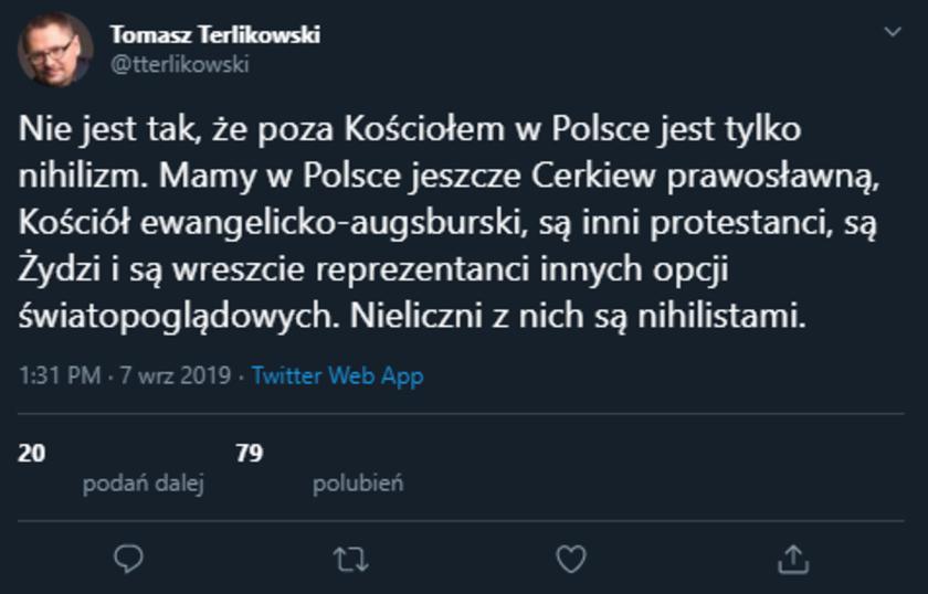 Tomasz Terlikowski Twitter
