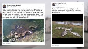 Afera ściekowa. Działacz PiS z Płocka pokazał zdjęcie śniętych ryb w Wiśle. Pochodzi z 2010 roku
