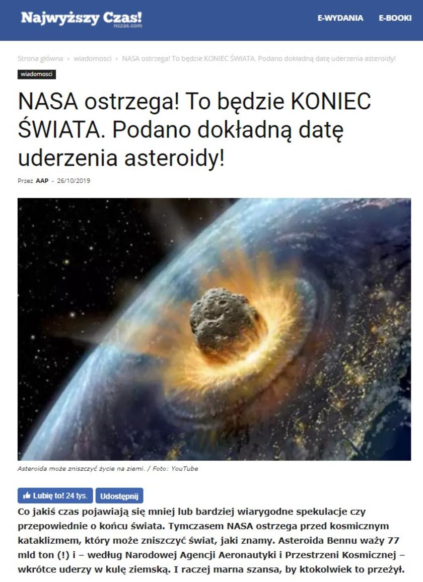 Asteroida Bennu uderzenie