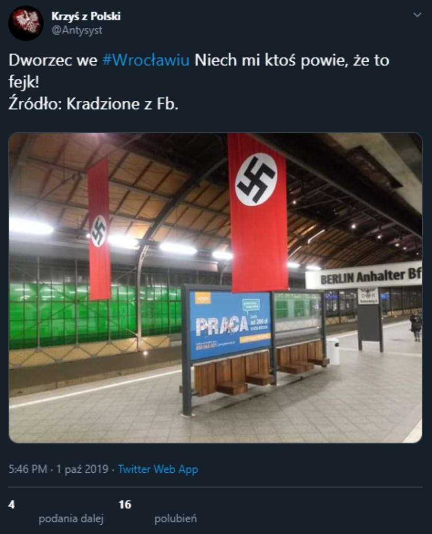 Dworzec Główny we Wrocławiu swastyki