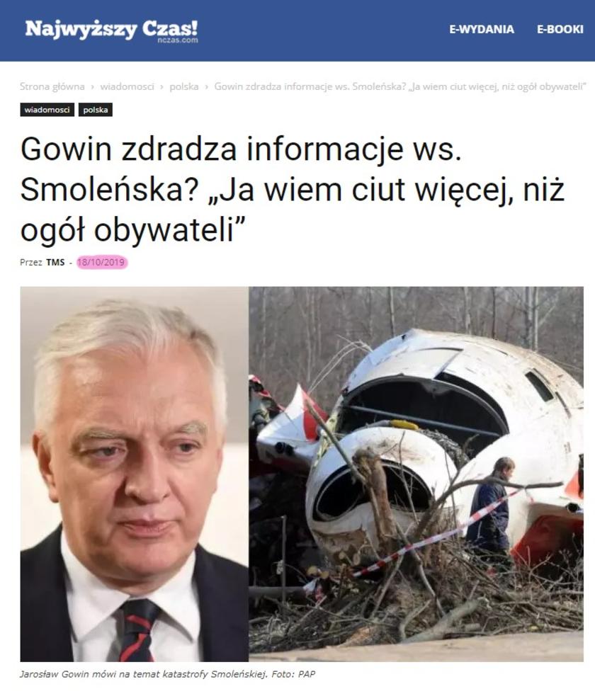 Katastrofa smoleńska Gowin