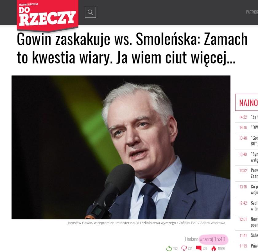 Katastrofa smoleńska Jarosław Gowin