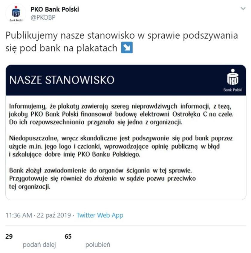 PKO BP oświadczenie
