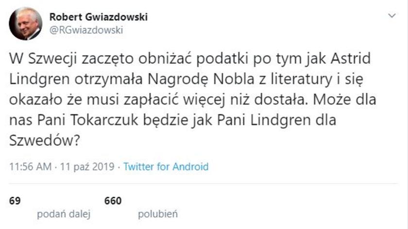 Robert Gwiazdowski Twitter
