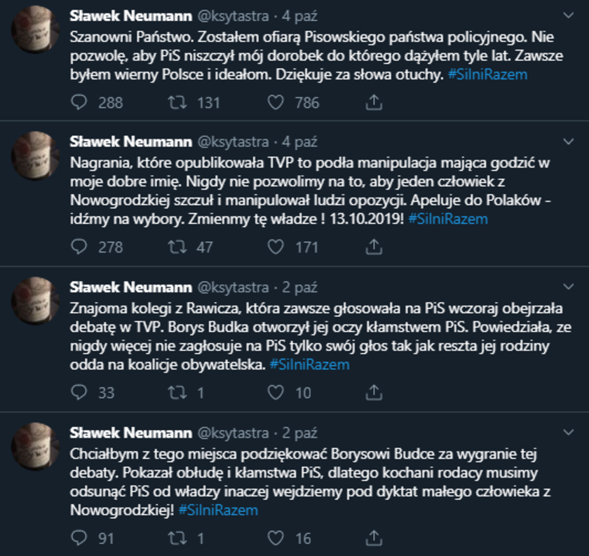 Sławomir Neumann fake konto
