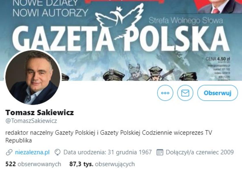 Tomasz Sakiewicz Twitter