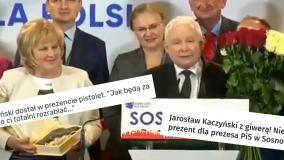 'Kaczyński dostał w prezencie pistolet'. Nagłówki mogą wprowadzać w błąd, bo podarek był z czekolady