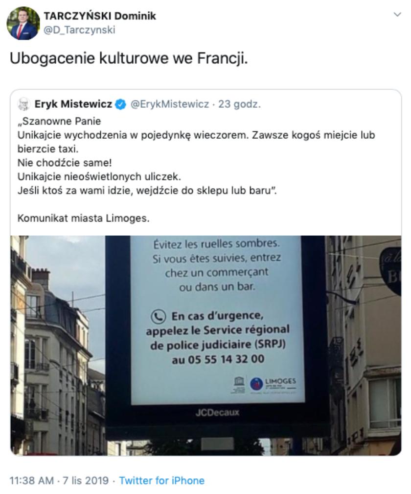 Dominik Tarczyński Twitter