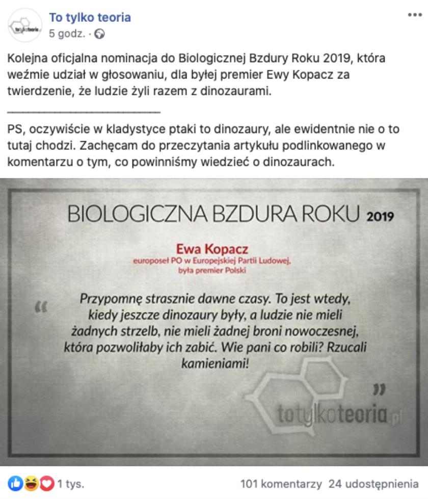 Ewa Kopacz dinozaury