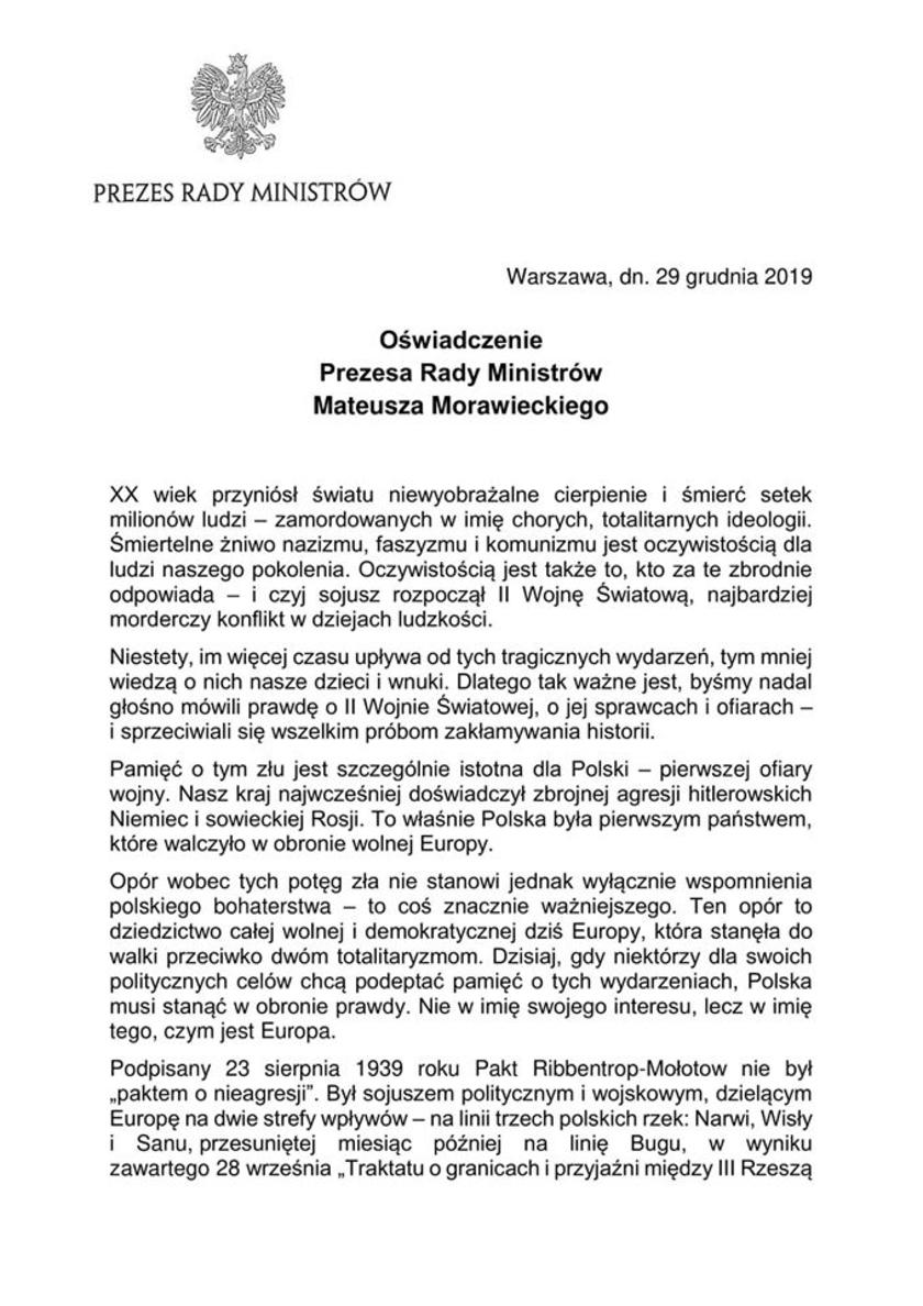 Mateusz Morawiecki oświadczenie