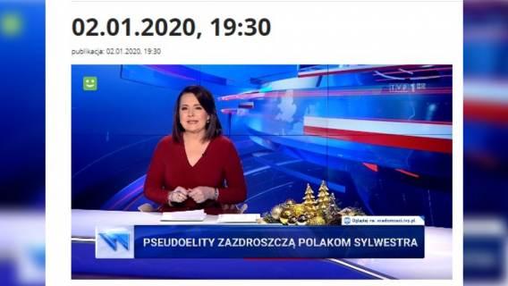 Zamieszanie wokół paska Wiadomości TVP z 'pseudoelitami' i Sylwestrem. Nie, to nie fejk