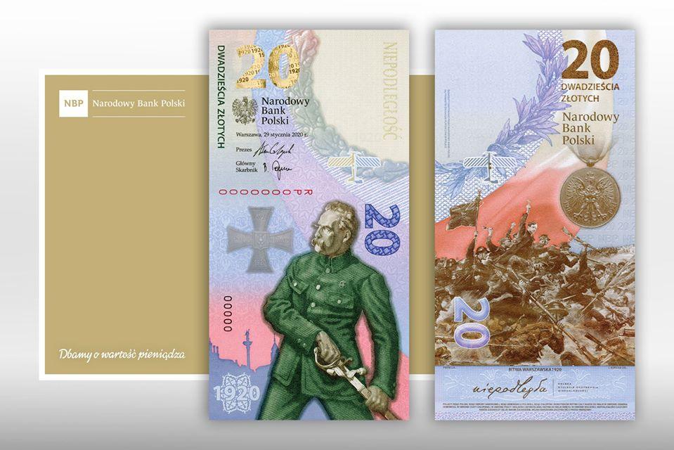 Banknot kolekcjonerski z okazji rocznicy Bity Warszawskiej 1920.