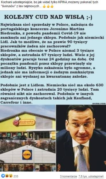 Grafika z fałszywą informacją nt. koronawirusa nczas.pl.