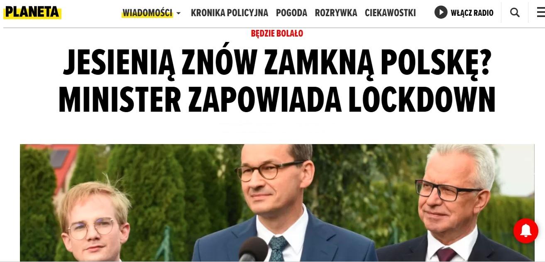 News Planeta.pl o lockdownie w Polsce.