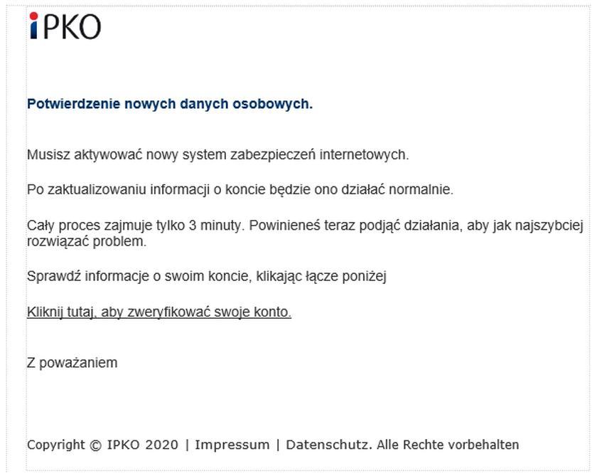 pko bp - fałszywy komunikat