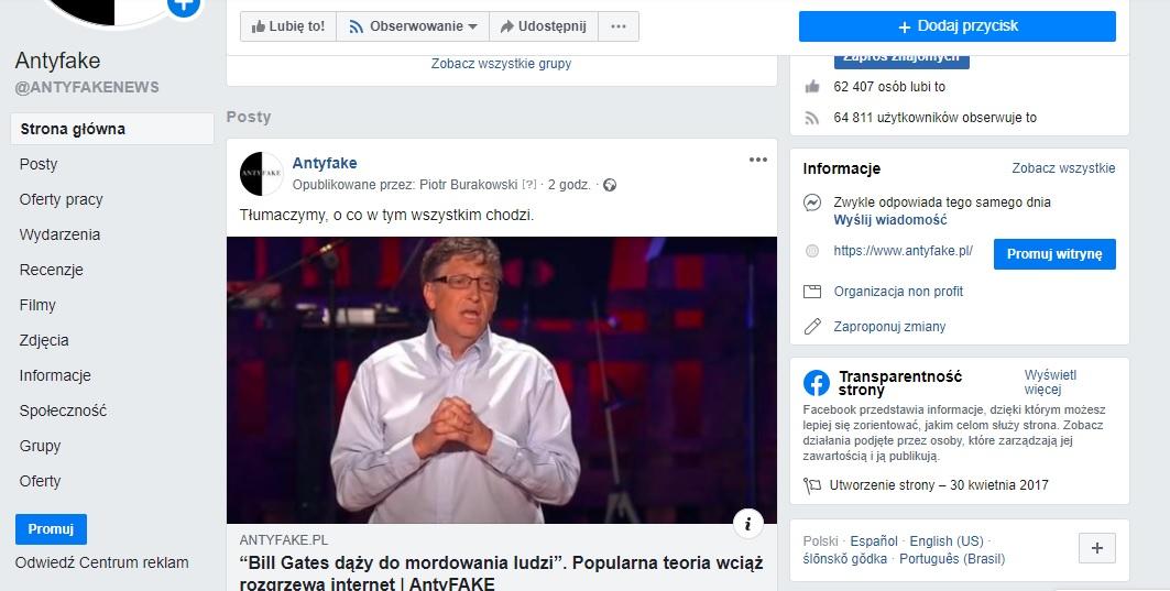 Klasyczny wygląd Facebooka.