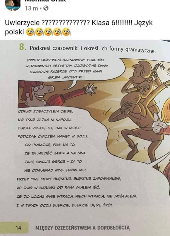Podręcznik szkolny z parafrazą utworu Zenona Martyniuka.