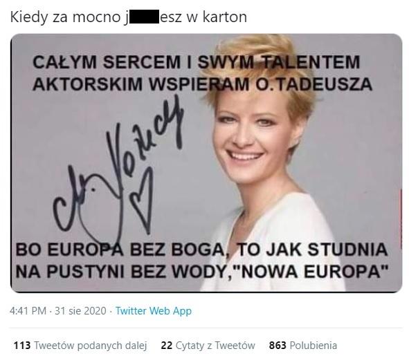 Fałszywy tweet o Małgorzacie Kożuchowskiej.