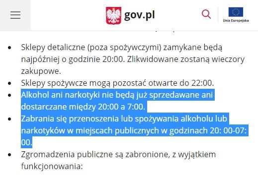 Narkotyki: strona polskie rządu