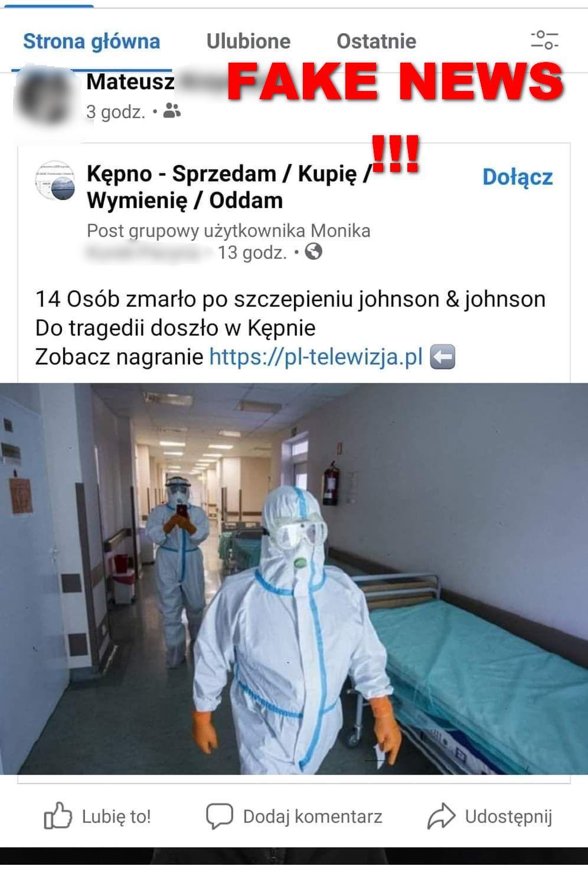 Fake news o zgonach po szczepieniu na COVID-19